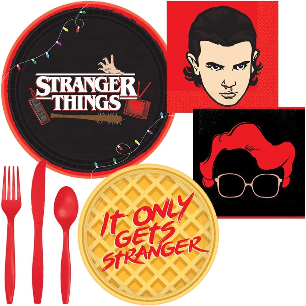 Stranger Things Party Supplies for 8 - Dinner Plates, Dessert Plates, Beverage Napkins and Silverware