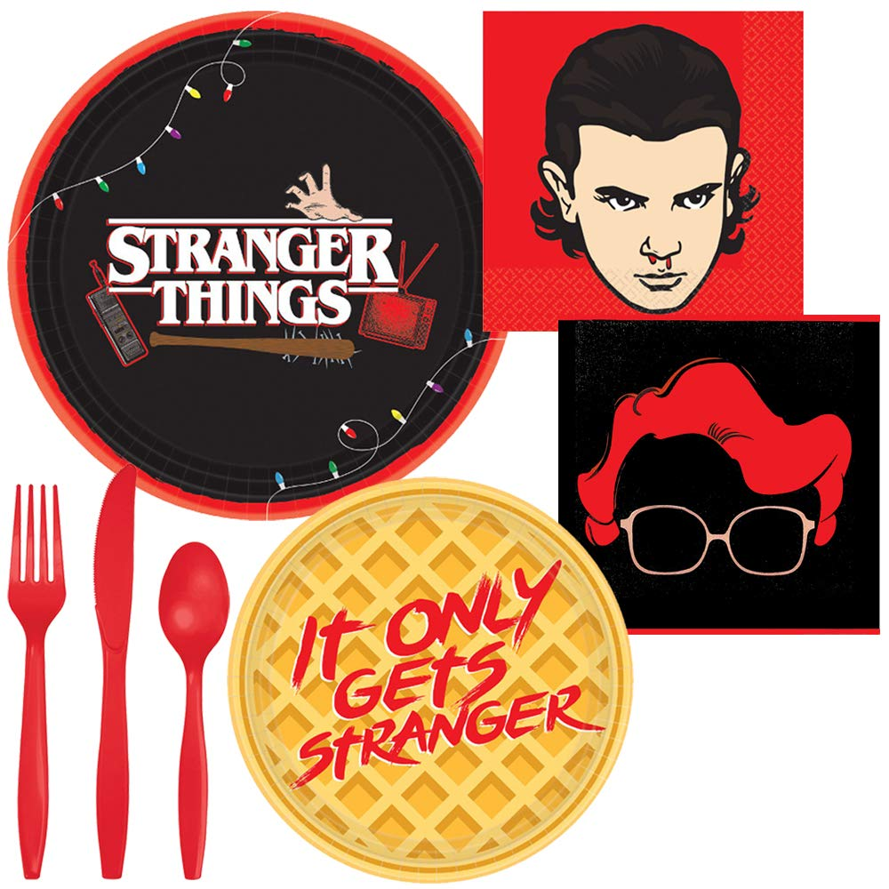 Stranger Things Party Supplies for 8 - Dinner Plates, Dessert Plates, Beverage Napkins and Silverware by Life on the Lane