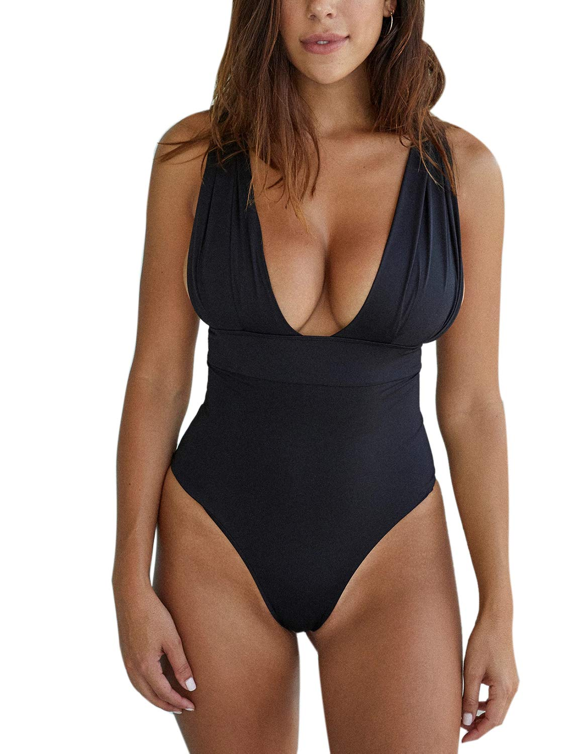 May Women's One Piece Swimsuit Sexy Low V Neck High Cut Bathing Suit Monokini Swimwear Black