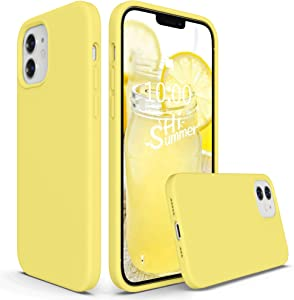 SURPHY Silicone Case Compatible with iPhone 12 Case and iPhone 12 Pro Case 6.1 inch 2020, Liquid Silicone Phone Case (with Microfiber Lining) Designed for iPhone 12 & 12 Pro (Yellow)