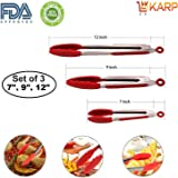 Tong - Set of 3 Pieces - 7, 9 & 12 Inch Heat-Resistant Non-stick Stainless Steel Cooking Tong, Kitchen Tongs, Salad Tong, Buffet Tong for Barbecue, Cooking, Grilling Turner - A Serving and Feeding Set for Your Kitchen Collection By KARP - Red Color