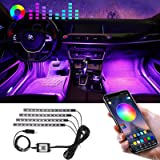 Winzwon Car Led Lights Interior 4 Pcs 48 Led Strip Light for Car with USB Port APP Control for iPhone Android Smart Phone Inf