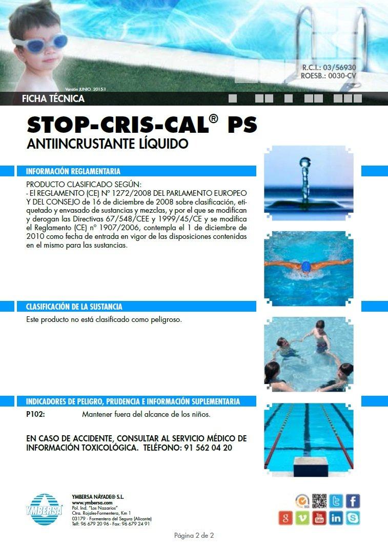YMBERSA STOP-CRIS-CAL® PS: Antiincrustante líquido para piscinas. 5 Litros: Amazon.es: Jardín