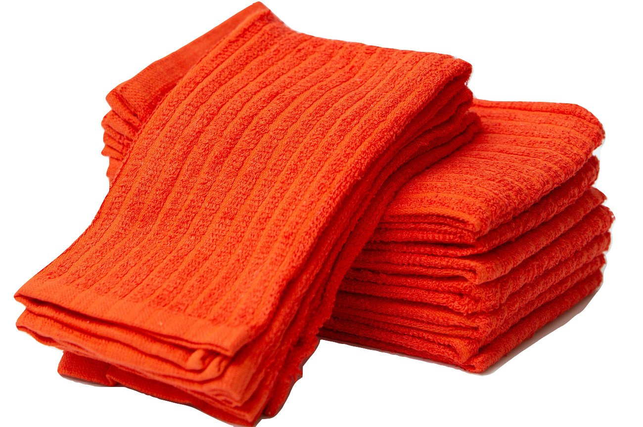 Sammy Mills 12 PC, 100% cotton, Bar Mop Kitchen Towel, (16''x19'') (orange)