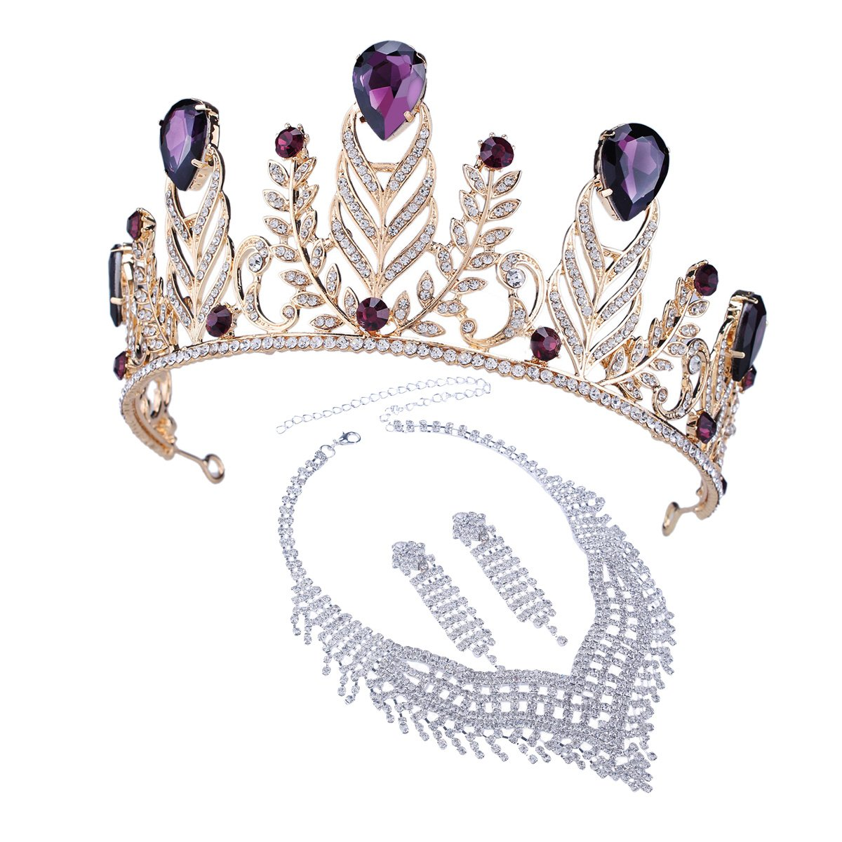 Santfe Elgant Purple Crystal Stone Leaf Style Wedding Party Headband Hair Band Tiara Crown, Come with Earrings or Necklace (Style 8)