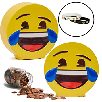 Amazon.com: Emoji Coin Piggy Bank with Memory Bracelets: Laughing ...
