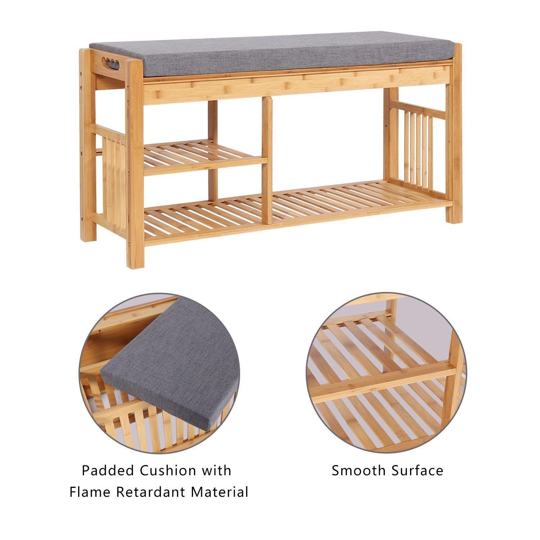 Kinbor Bamboo Shoe Rack Bench Wood Shoe Organizer,Padded Seat Storage Shoe Shelf Organizing For Bedroom Bathroom Living room Patio Entryway Hallway and Foyer
