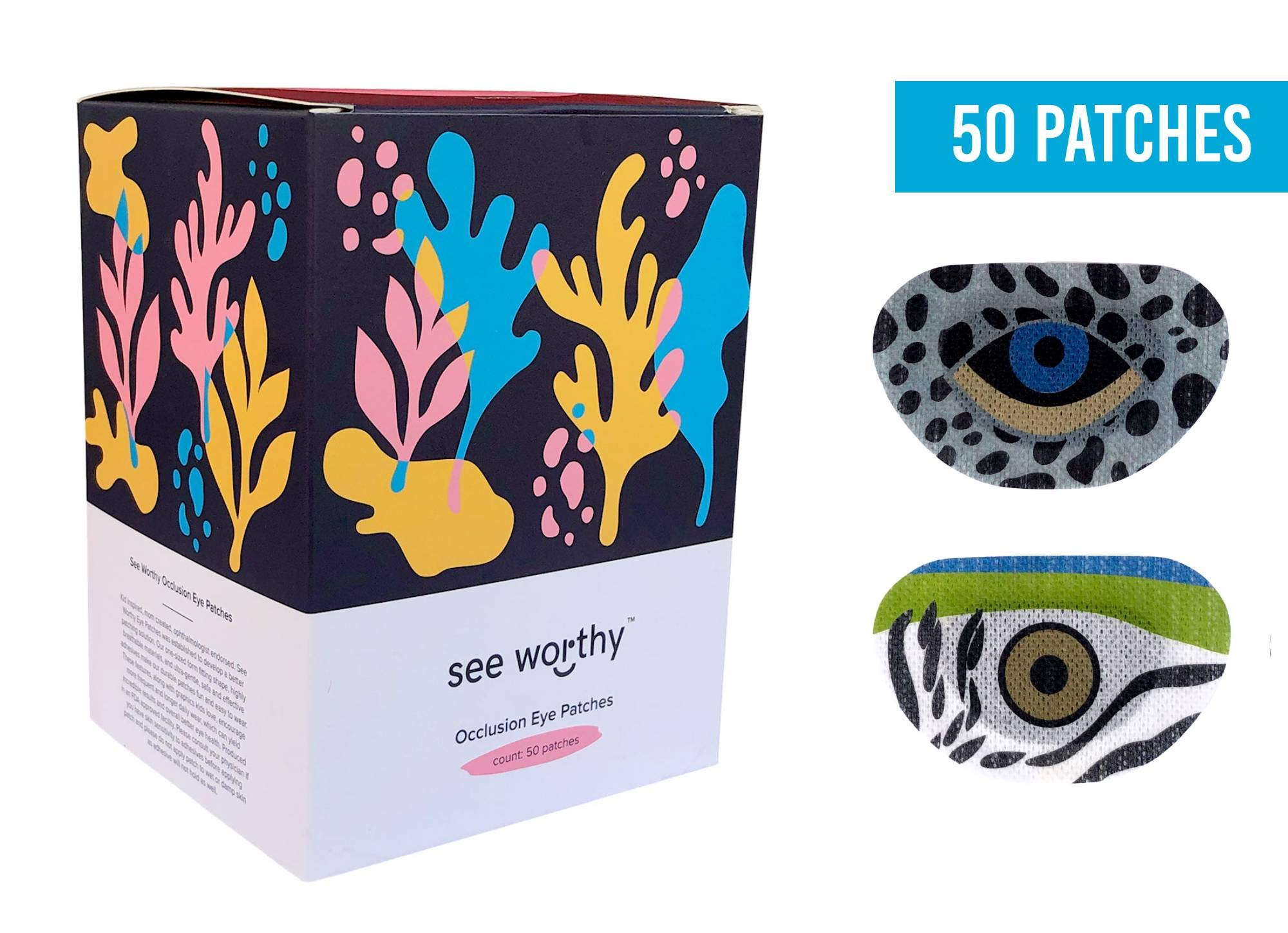 See Worthy (Snow Leopard and Macaw) Parrot Adhesive Kids Eye Patches, Innovative Shape, Smart Adhesive Technology, Breathable Material and Fun Designs, (50 per Box) (Regular Size)