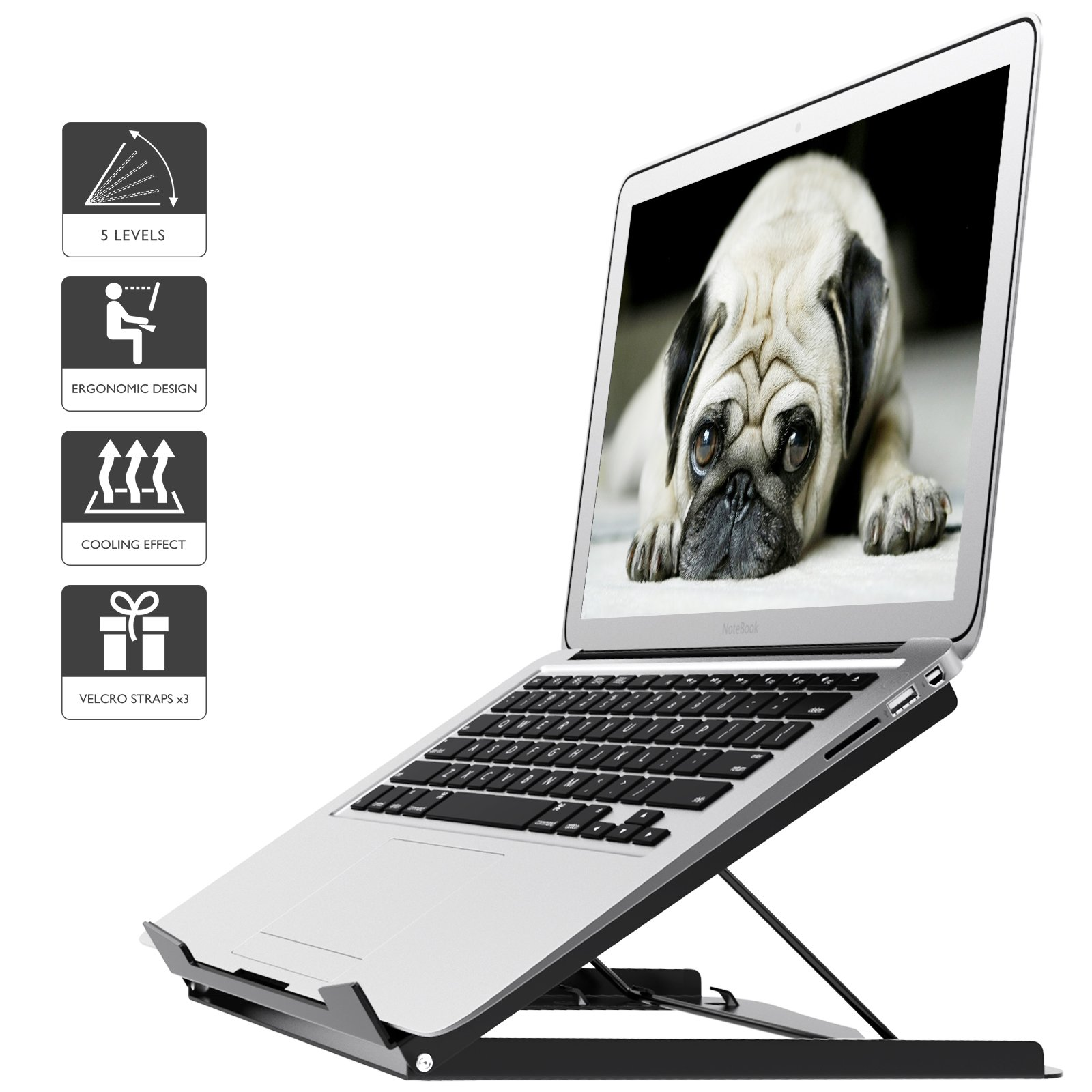 1home Laptop Stand Egonomic Riser Portable Notebook Stand Hegiht Adjustbale for MacBook, Black, Iron