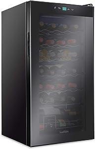 Ivation 28 Bottle Compressor Wine Cooler Refrigerator | Large Freestanding Wine Cellar For Red, White, Champagne or Sparkling Wine | 41f - 64f Touch Digital Temperature Control Fridge Glass Door Black