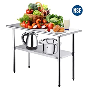 NSF Kitchen Work Table -Nurxiovo Stainless Steel Kitchen Prep Food Commercial Grade Metal Scratch Resistent and Antirust Work Table Workbench with Adjustable Table Toot,36 X 24 Inches