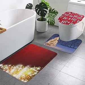 Bathroom Rugs and Mats Sets 3 Piece Hohoho Santa Christmas Inch Bath Mat Rug Non Slip Washable Toilet Seat Cover Rugs U Shaped Bathmats Carpets Contour Floor Mats for Bathroom Decor