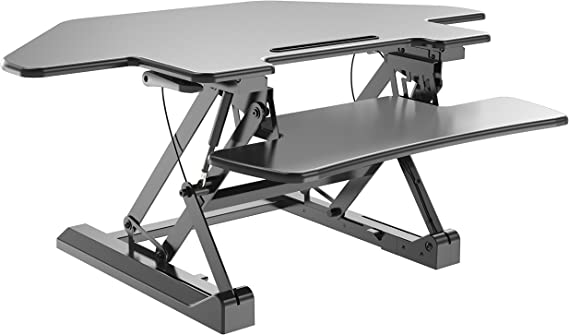 """Zeal Desk Corner Pro 40 Height Adjustable Cubicle Sit to Stand 40"""" Tabletop Cubical Riser with Keyboard Tray Workstation Monitor Laptop Desk ZD-LD07T (Black)"""