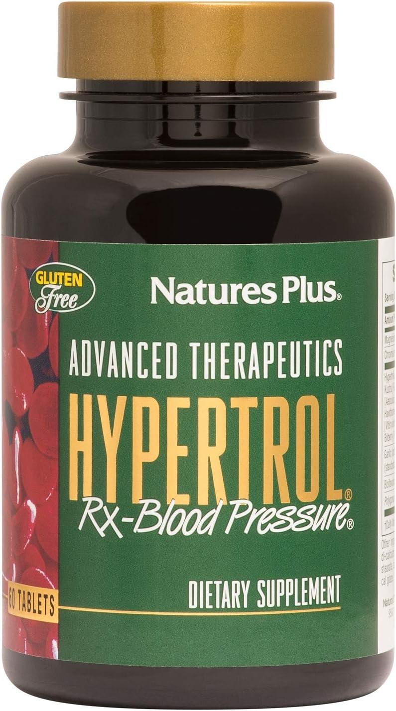 NaturesPlus Advanced Therapeutics Hypertrol Rx Blood Pressure - 60 Vegetarian Tablets - Magnesium & Chromium Supplement with Botanical Herbs - Gluten-Free - 30 Servings