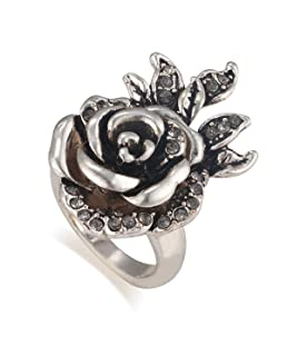Claire Jin Luxurious Three-Dimensional Rose Setting Court Style Alloy Vintage Ring Women's Jewelry (7)
