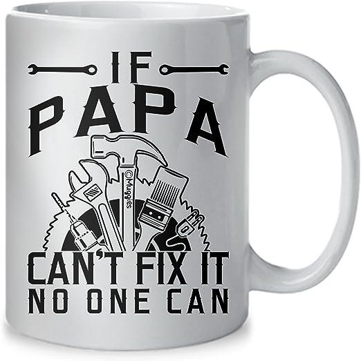 Amazon.com: Muggies Papa Can Fix Taza – Regalo para papá y ...
