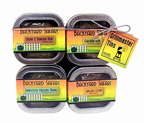 Backyard Safari Company Grillmaster Tins, Grilling Rubs, 4 Pack