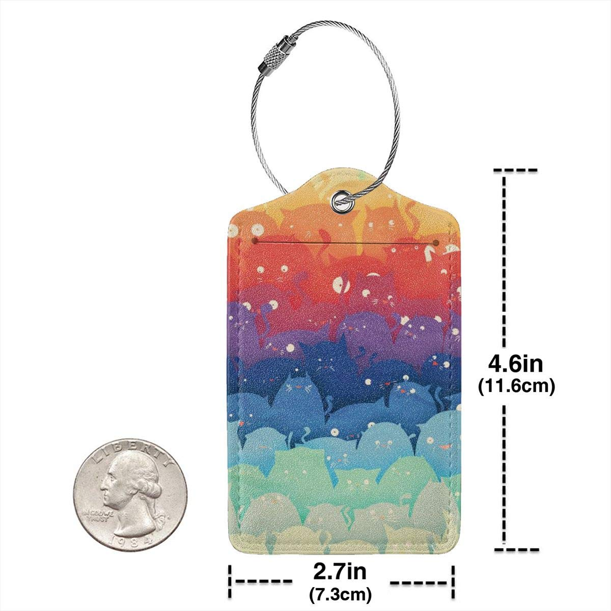 Leather Luggage Tags Full Privacy Cover and Stainless Steel Loop 1 2 4 Pcs Set Key Tags for Backpacks Travel Bags Gift Rainbow Cats 2.7 x 4.6 Blank Tag