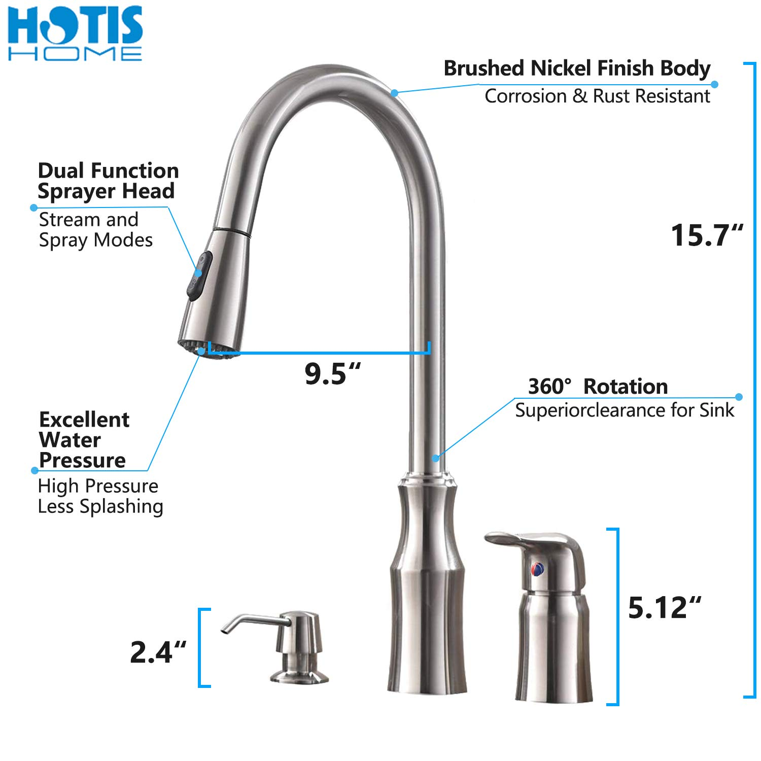 Hotis 3 Hole Kitchen Sink Faucet with Pull Down Sprayer Soap Dispenser Stainless Steel Single Handle Kitchen Faucet, Brushed Nickel by HOTIS HOME (Image #2)