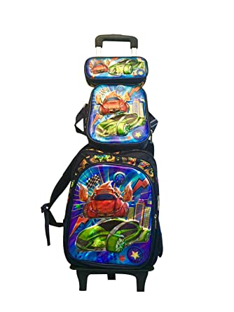 al por mayor online diseño superior mejor amado Lia escolares. 4 piezas de mochila con ruedas Joven 3d Auto Diseño Mochila  Escolar Mochila escolares. Juego de 4 coches Azul, Verde Grande schultasche