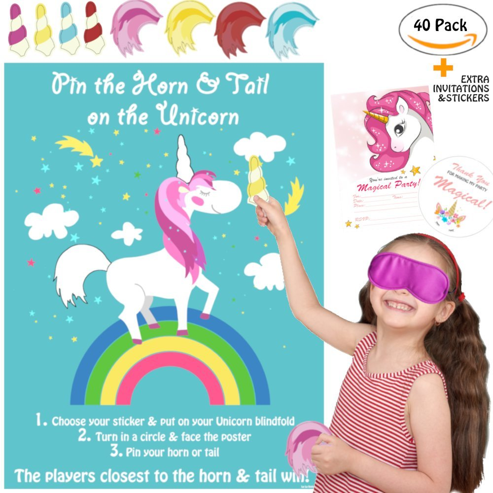(40 Set, 2 Games) La La Unicorn Pin the Horn on the Unicorn Party Game Large & Pin the Tail on the Unicorn Birthday Party Game Supplies, Decorations, Gifts for Girls + Thank You Stickers & Invitations