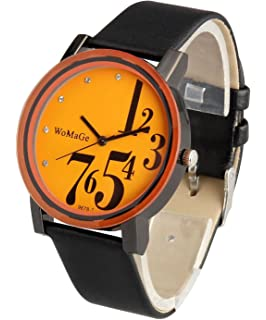 ShoppeWatch Mens Big Face Wrist Watch Orange Dial Black Band Unisex Reloj para Hombre SW9678BKOR