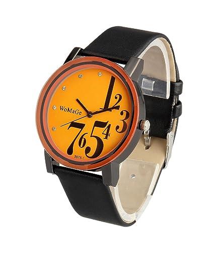 ShoppeWatch Mens Big Face Wrist Watch Orange Dial Black Band Unisex Reloj Para Hombre SW9678BKOR
