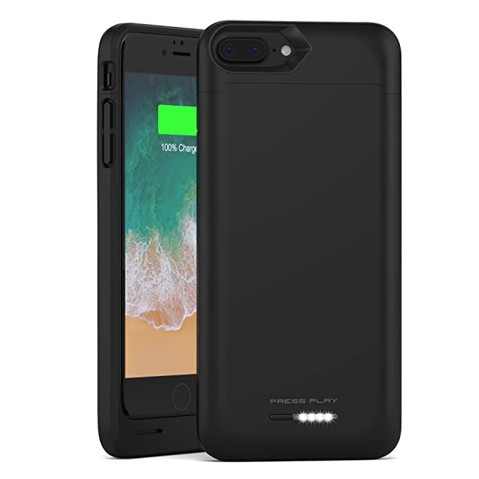cheap for discount 57922 fd85f iPhone 8 Plus Battery Case with Qi Wireless Charging, (Apple Certified)  PRESS PLAY Nero 3100mAh Slim Rechargeable Extended Protective Portable  Backup ...