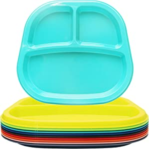 Youngever 3-Compartment Divided Plastic Kids Tray, 3 Compartment Plates, Set of 9 in 9 Assorted Colors