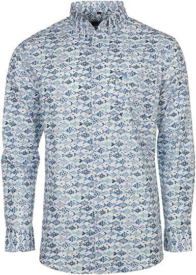 Carson - Camisa Casual - Animal Print - con Botones - Manga Larga - para Hombre Blanco Blanco XXL: Amazon.es: Ropa y accesorios