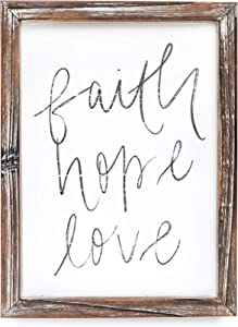 Sweet Water Decor Faith Hope Love Wood Sign 9x12   Rustic Wall Decor with Unique Distressed Wooden Frame   Farmhouse Inspirational Art for Kitchen, Office, Living Room, and Home   1 Corinthians 13 13