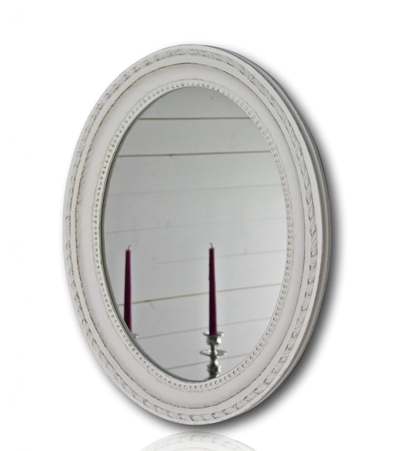 elbmöbel Wall mirror round oval in shabby chic antique SILVER - large W37 x H47