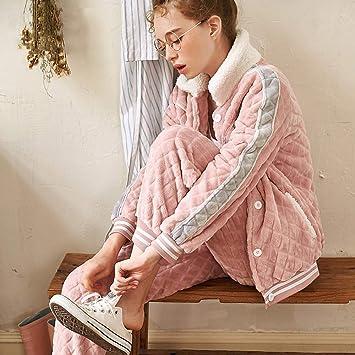 WANG-LONG Ropa De Dormir Batas Mujer Conjunto De Pijamas Damas Camisones Ropa De Noche Invierno Solapa Cardigan Rosa Franela Vellón Coral Bordado ...