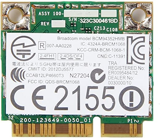 Bluetooth 4.0 Mini PCI-E Card Antennae Azurewave AW-NB159H Wireless Wifi WLAN