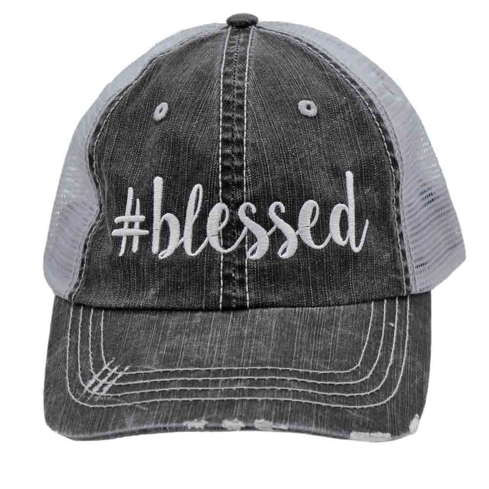 # Blessed #blessed Glittering or Embroidered Distressed Trucker Style Cap Hat (Emb)