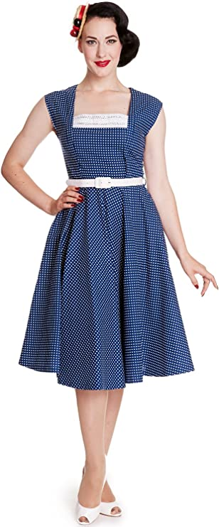 1950s Dresses, 50s Dresses | 1950s Style Dresses Hell Bunny 50s Vintage Style Country Girl Polka Dot Square Neck Flare Party Dress $85.00 AT vintagedancer.com