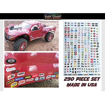 RC R/C car truck - Racing Sponsor decals stickers -290pc set - For 1/8 1/10 Scale - rock crawler No prep drag Traxxas Slash Arrma DR10 SMT10 Capra SCX10 UDR Losi SBR Xmaxx Infraction: Automotive