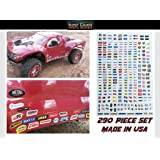 RC R/C car truck - Racing Sponsor decals stickers -290pc set - For 1/8 1/10 Scale - rock crawler No prep drag Traxxas Slash Arrma DR10 SMT10 Capra SCX10 UDR Losi SBR Xmaxx Infraction