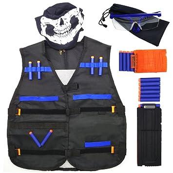 GFU Kit de chaqueta chaleco táctico con 16pcs azul dardos + Gafas de protección + 5