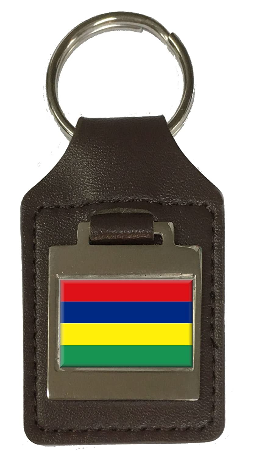 Leather Keyring Engraved Mauritius Flag