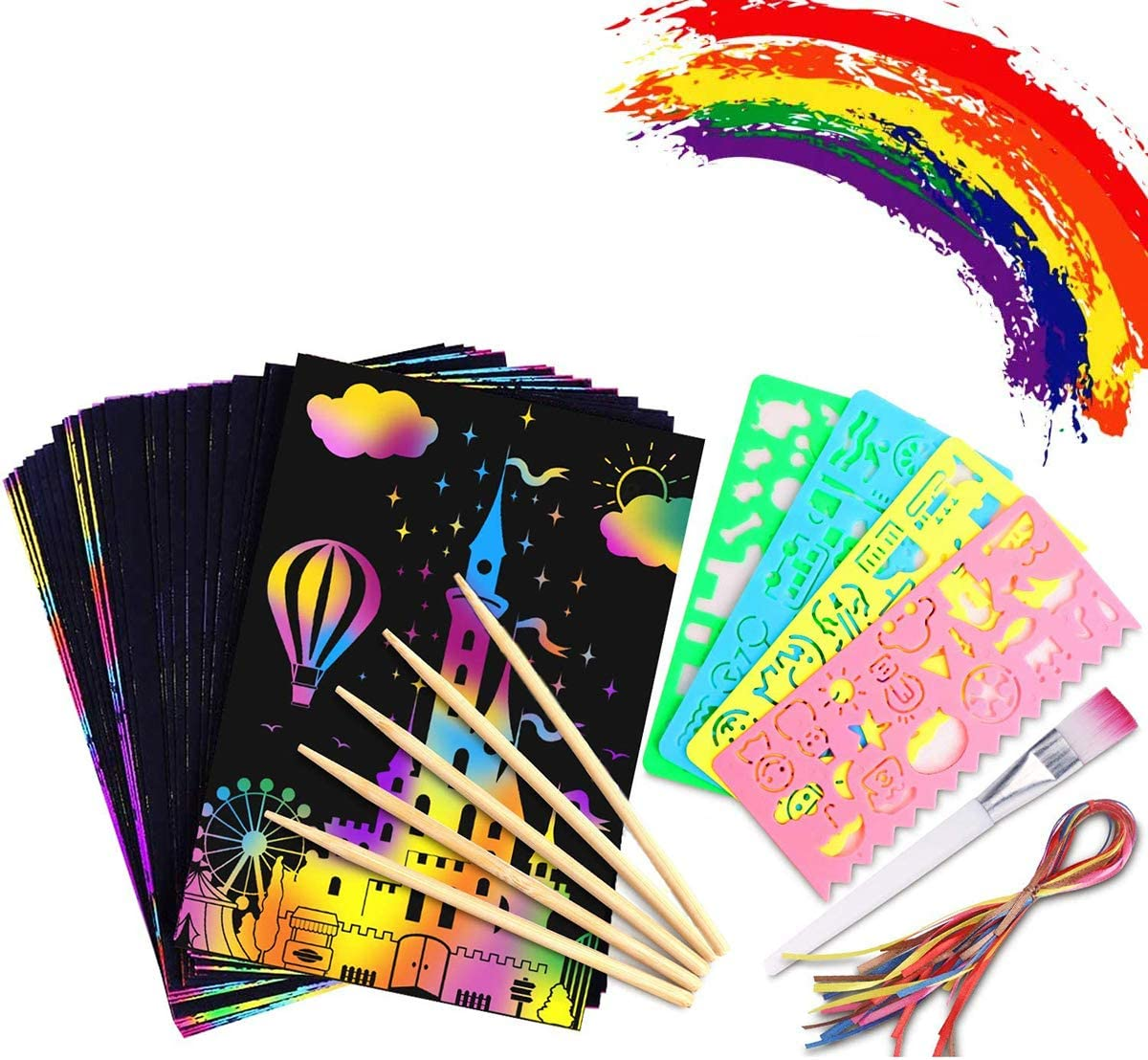 Holzstiften und Stickern 13 x 19cm 50 Gro/ße Bl/ätter Regenbogen Kratzpapier zum Zeichnen und Basteln mit Schablonen MINGJING Kratzbilder Set f/ür Kinder,Kratzpapier Set