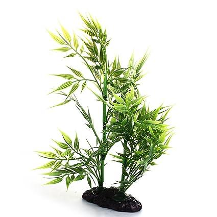 FACILLA®Planta Bambú Artificial Plástico Color Verde para Acuario Pecera Réptiles
