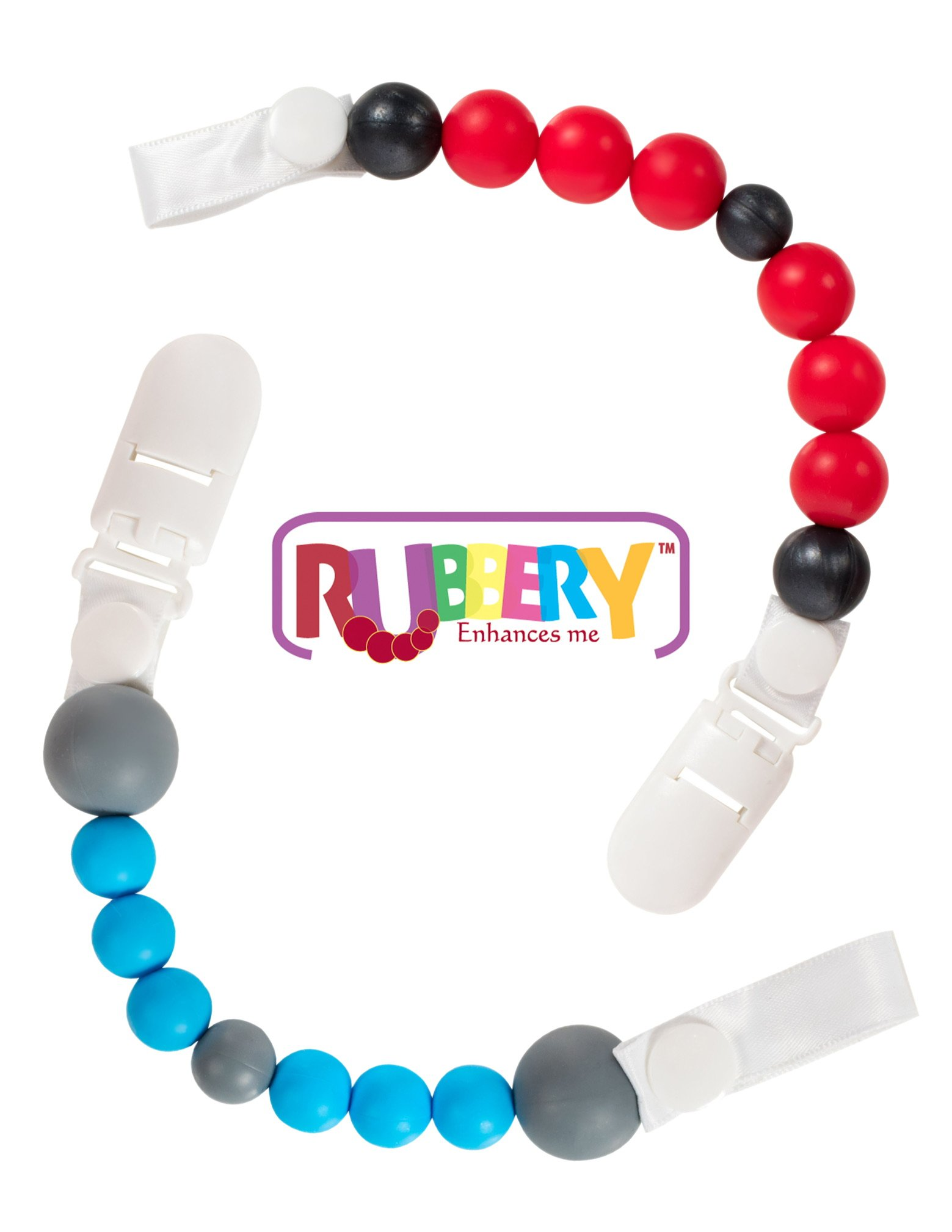 Silicone pacifier clip teething beads holder binky by Rubbery Enhances me