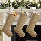 Homeford Burlap Jute Christmas Stockings Natural B994-02 6-Pack 16-inch