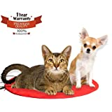 Heating Pet Bed, Powstro Electric Heated Pads Waterproof Dog Cat Beds Cushion With Chew Resistant Cord and Soft Removable Cover,11.9 By 11.9 inches