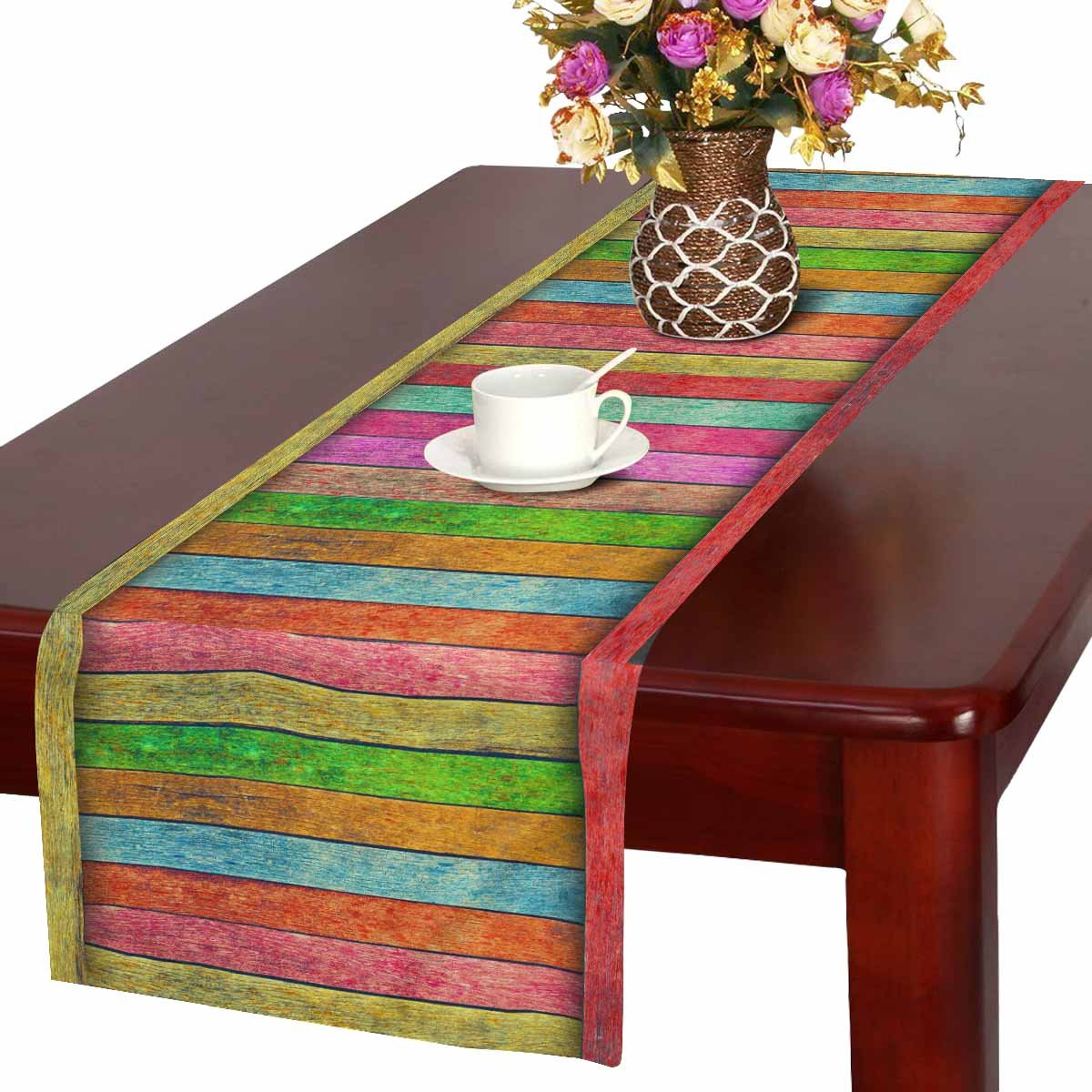 InterestPrint Colorful Wood Table Runner Home Decor 16 X 72 Inch,Rainbow Wood Table Cloth Runner for Wedding Party Banquet Decoration