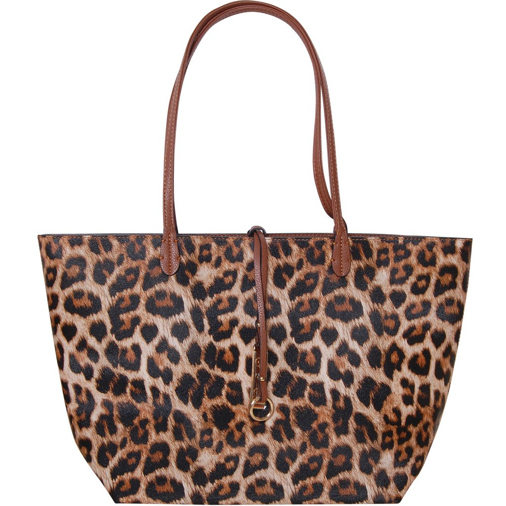 a742b116a4f Amazon.com: Humble Chic Reversible Vegan Leather Tote Bag - Oversized Top  Handle Large Shoulder Handbag Purse, Leopard & Saddle Brown, Tan: Clothing