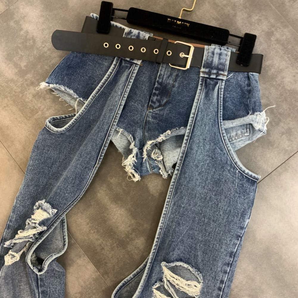 KBCJUA Zomer Grote Gaten Jeans Vrouwen High Street Draag Persoonlijkheid Gat Riem Denim Broek Mode Jeans Dames Broek Munt