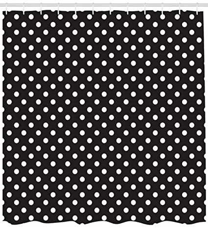 Ambesonne Dots Shower Curtain Classical Pattern Of White Polka On Black Traditional Vintage Design