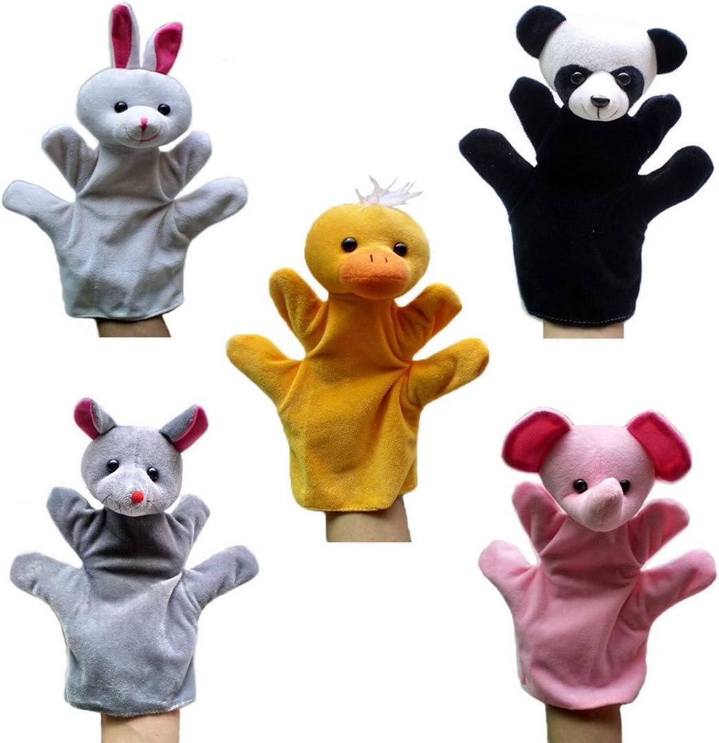 Happy Cherry - (Set de 5 Marionetas Juguetes Juegos de Manos Juguetes de Peluche Animales para Niños niñas Bebes Cuentacuentos - Conejo / Panda / ratón / Elefante / Pato